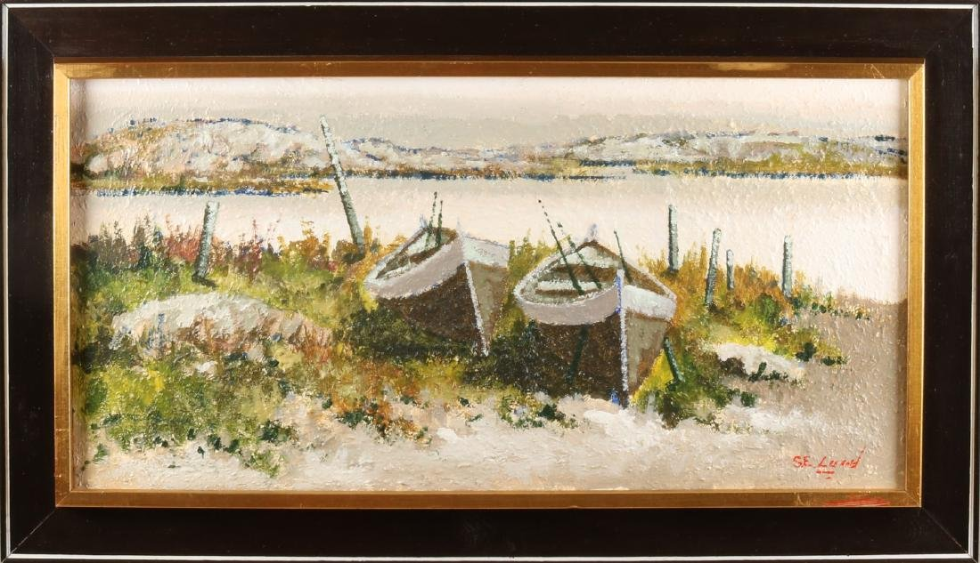 Sven Erik Lund. Wintry snowy landscape with boats. Swedish school. Oil paint on