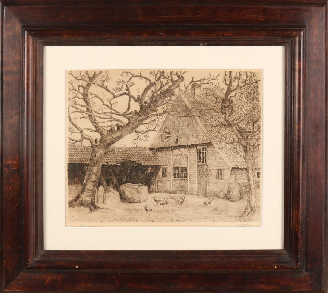 Two etchings from PA Nijgh. 1876-1959 Enschede. Twente farmhouse with chickens.