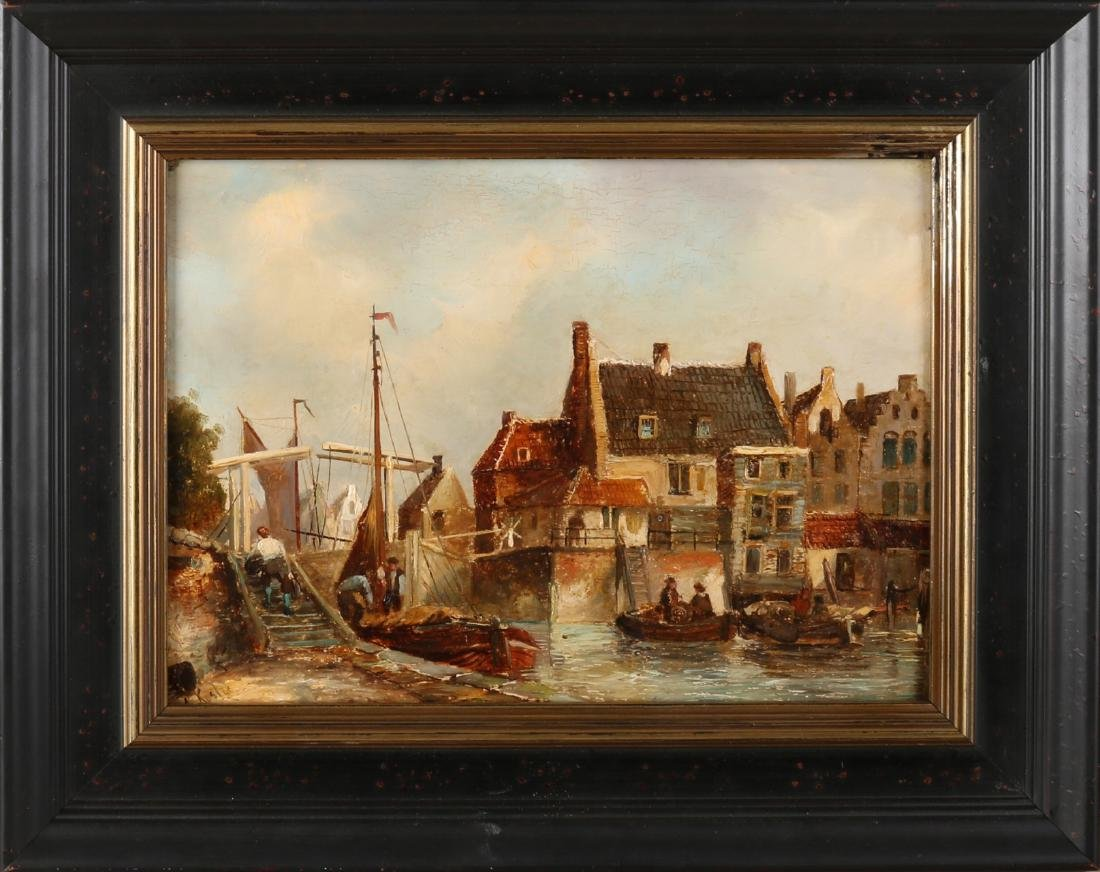 Everhardus Koster. 1817 - 1892. Dutch cityscape with boats and figures. Oil pain