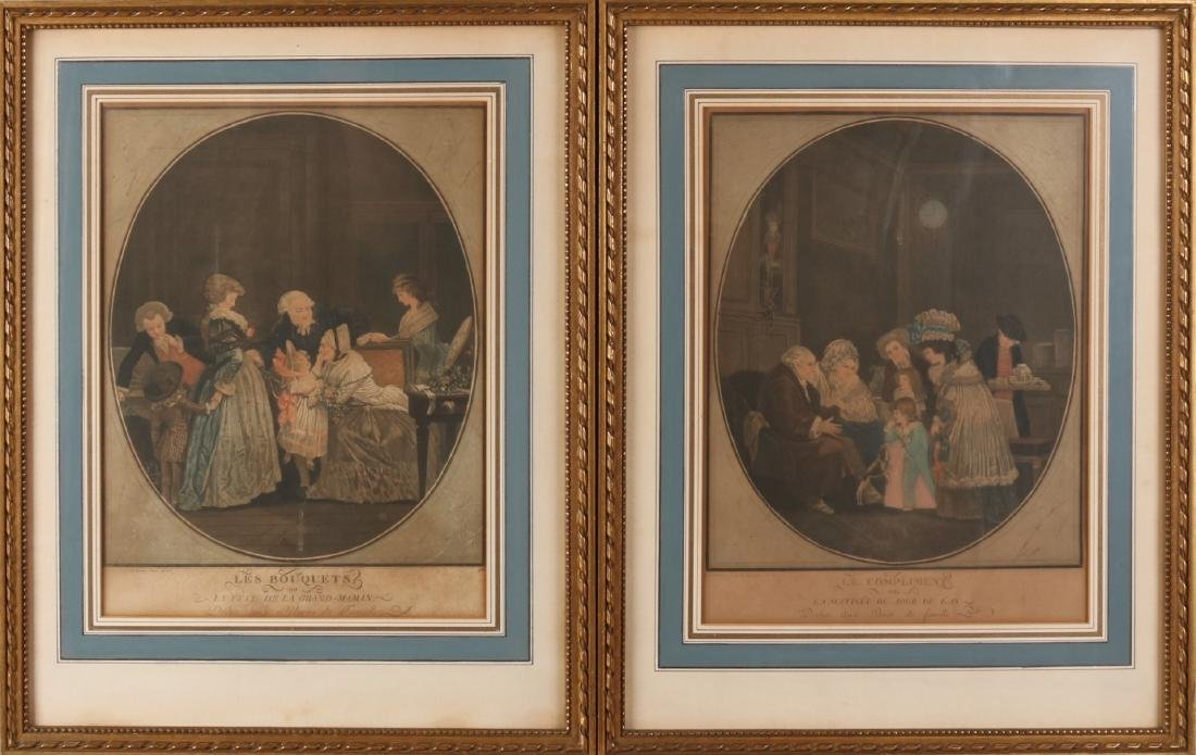Two 18th century hand-colored engravings 1788. One time Le Bouquets. One time Le