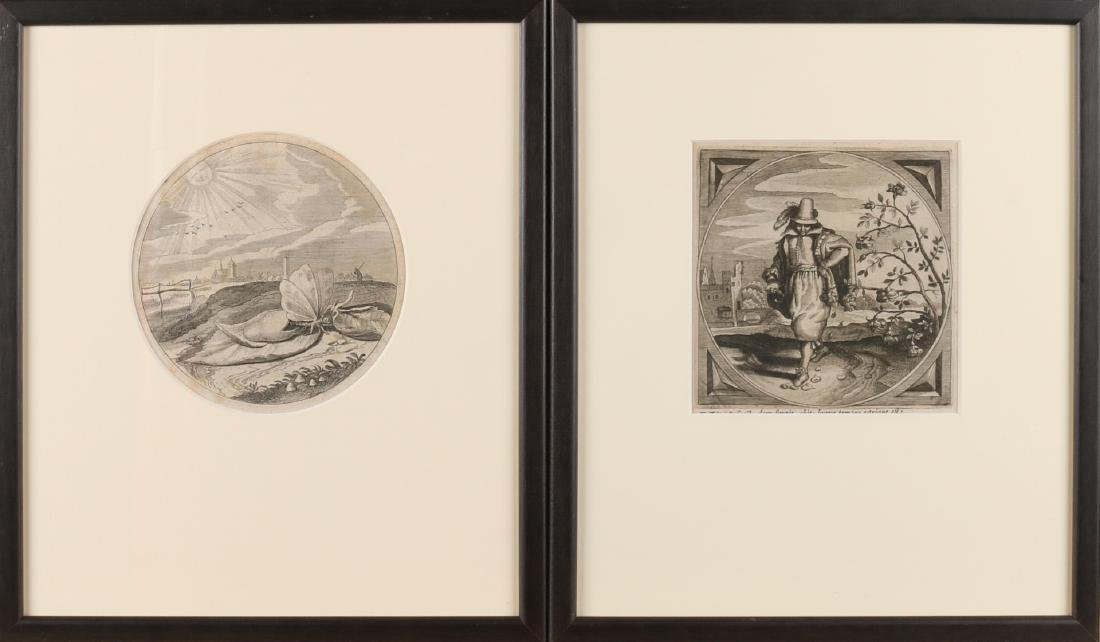 Two 17th - 18th century engravings. One butterfly comes from cocoon in landscape