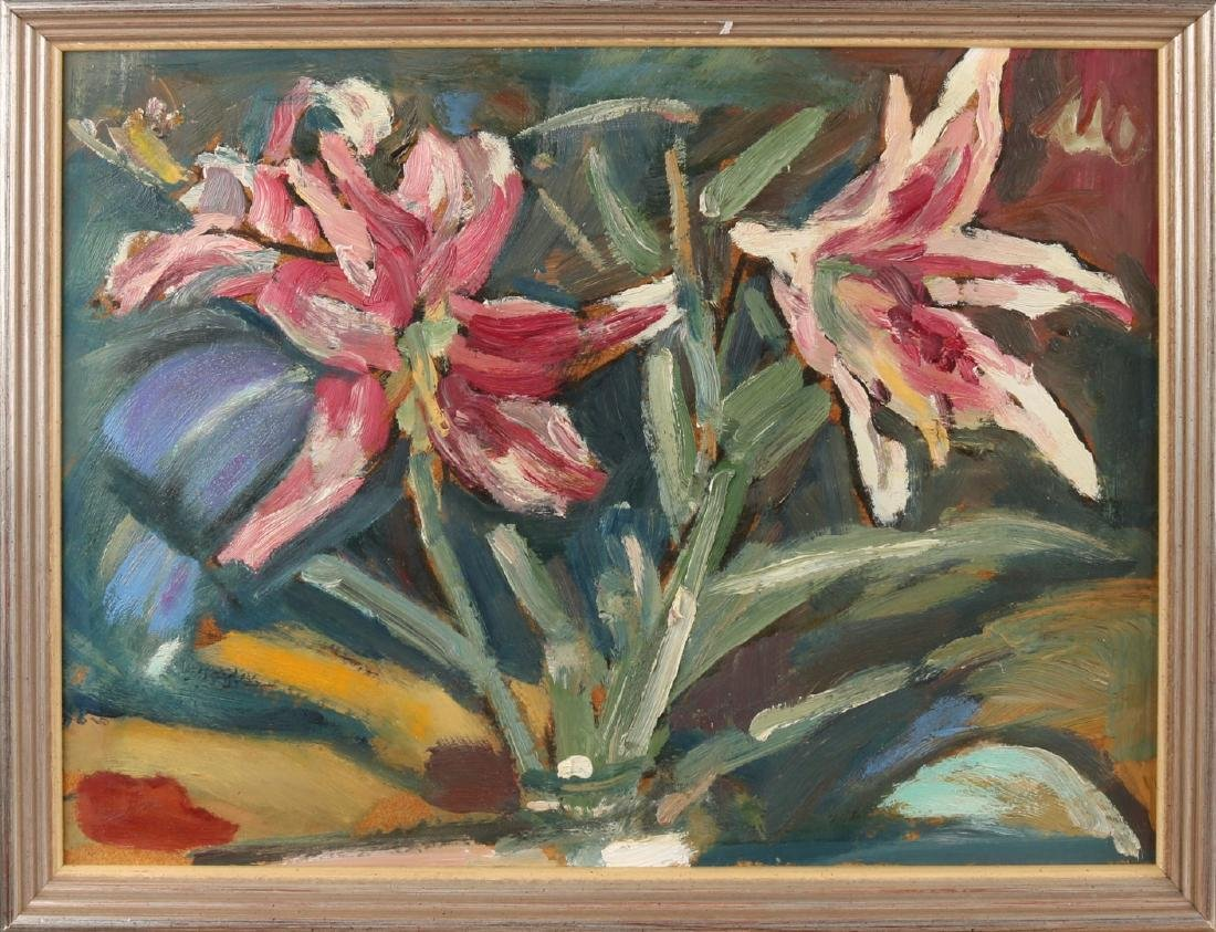 Unsigned. Two 'Flower Still Life'. 20th century. Oil paint on panel. Size: 33 x