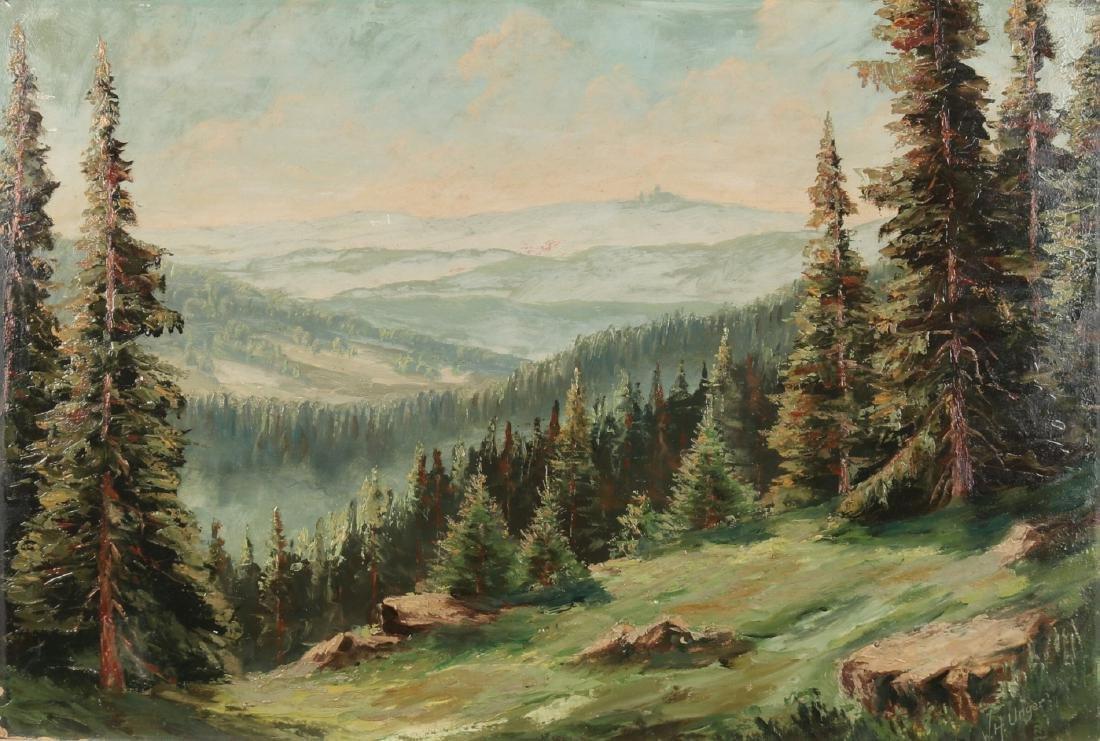 WH Unger. 1929. German school. German mountainous landscape. Oil paint on panel.