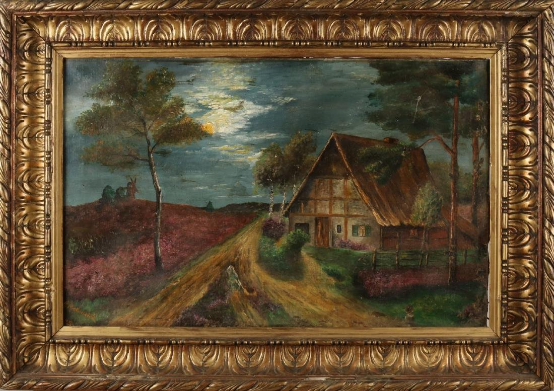 A. Rohreich, 1925. German school. 'Landscape with half-timbered house by moonlig