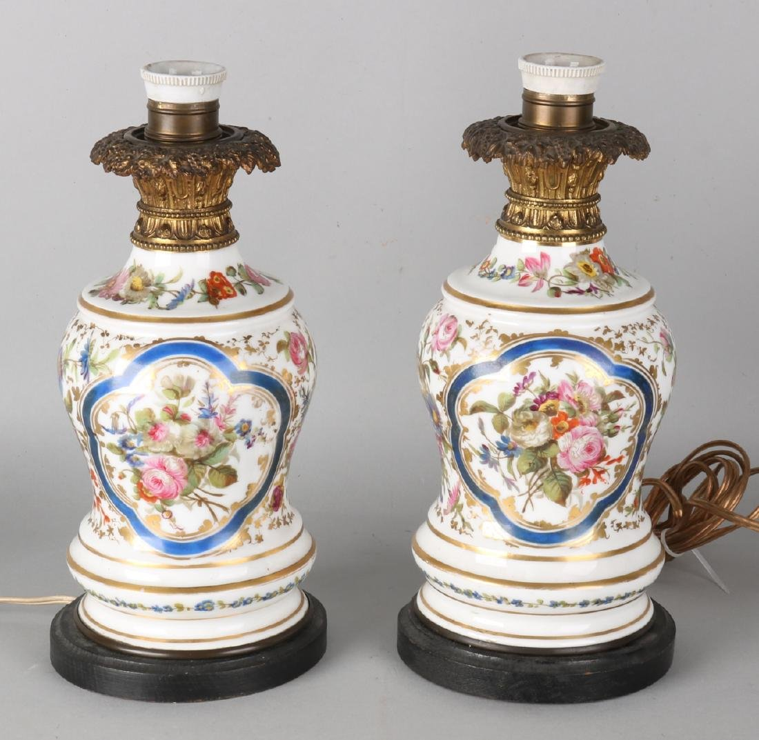 Two antique hand-painted French porcelain lamp bases with floral + gold decor. S