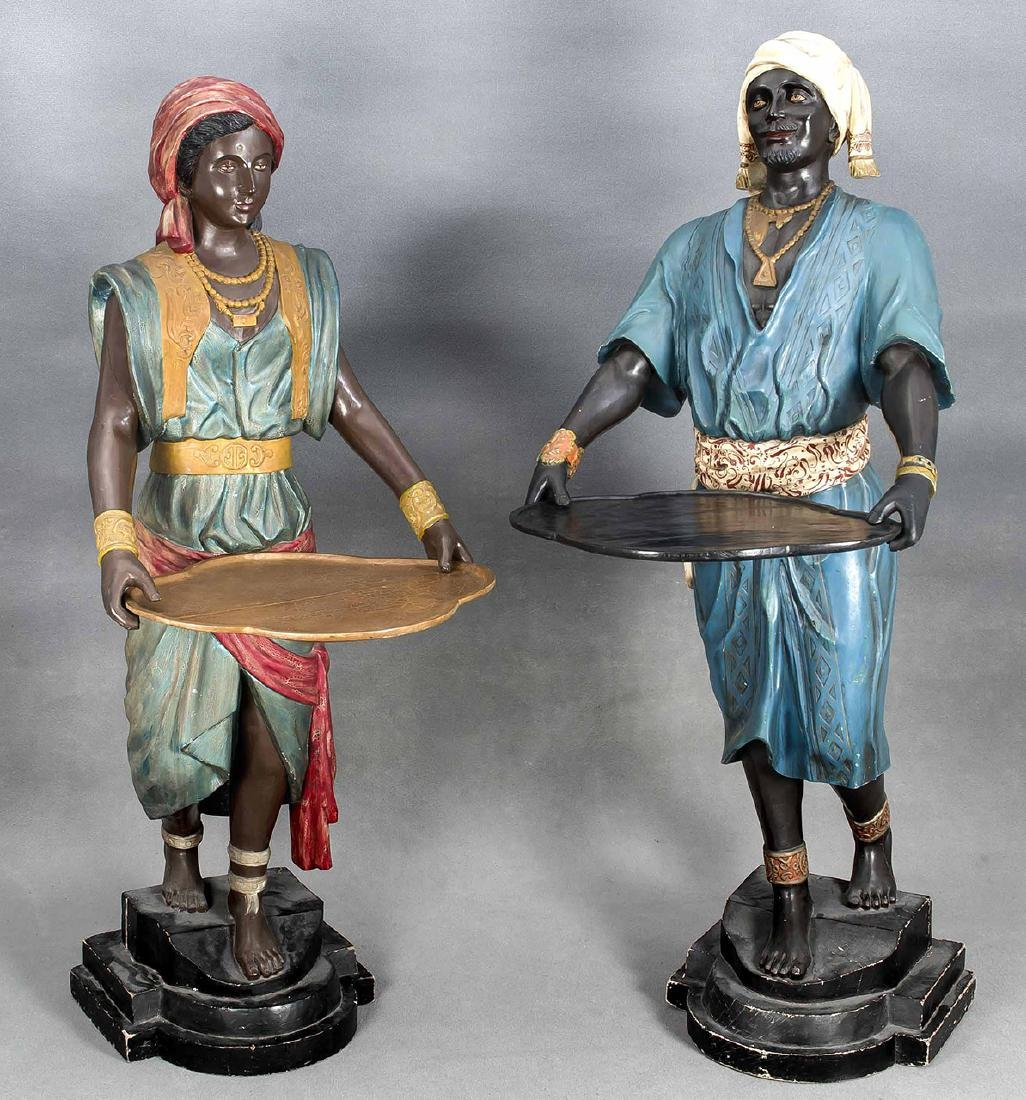 A few large Arabic figures with tray. Circa 1900. Wood cut out, polychrome paint