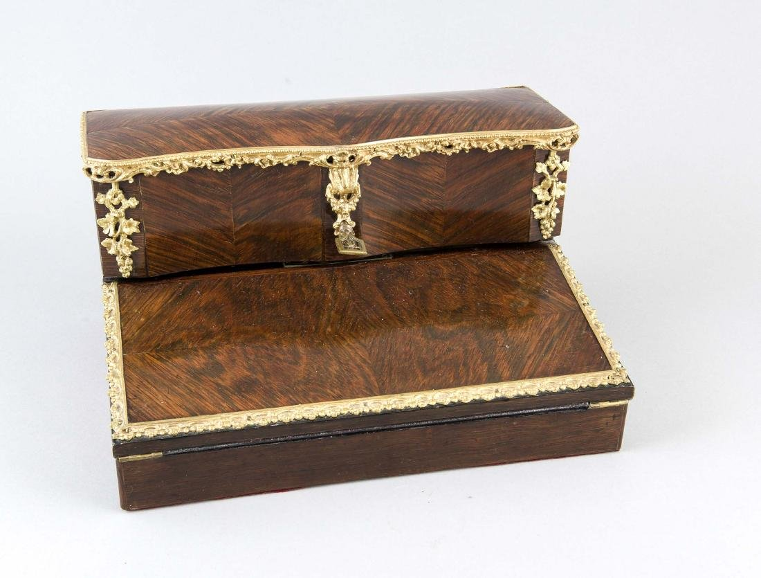 Chic antique French rosewood travel secretary with gilt bronze decorations + ori