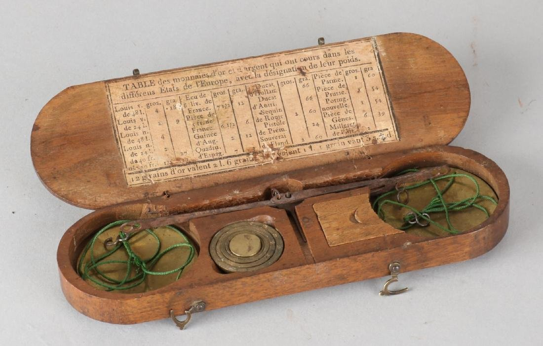 18th - 19th Century coins / gold scale in walnut holder + label 'Table des monna