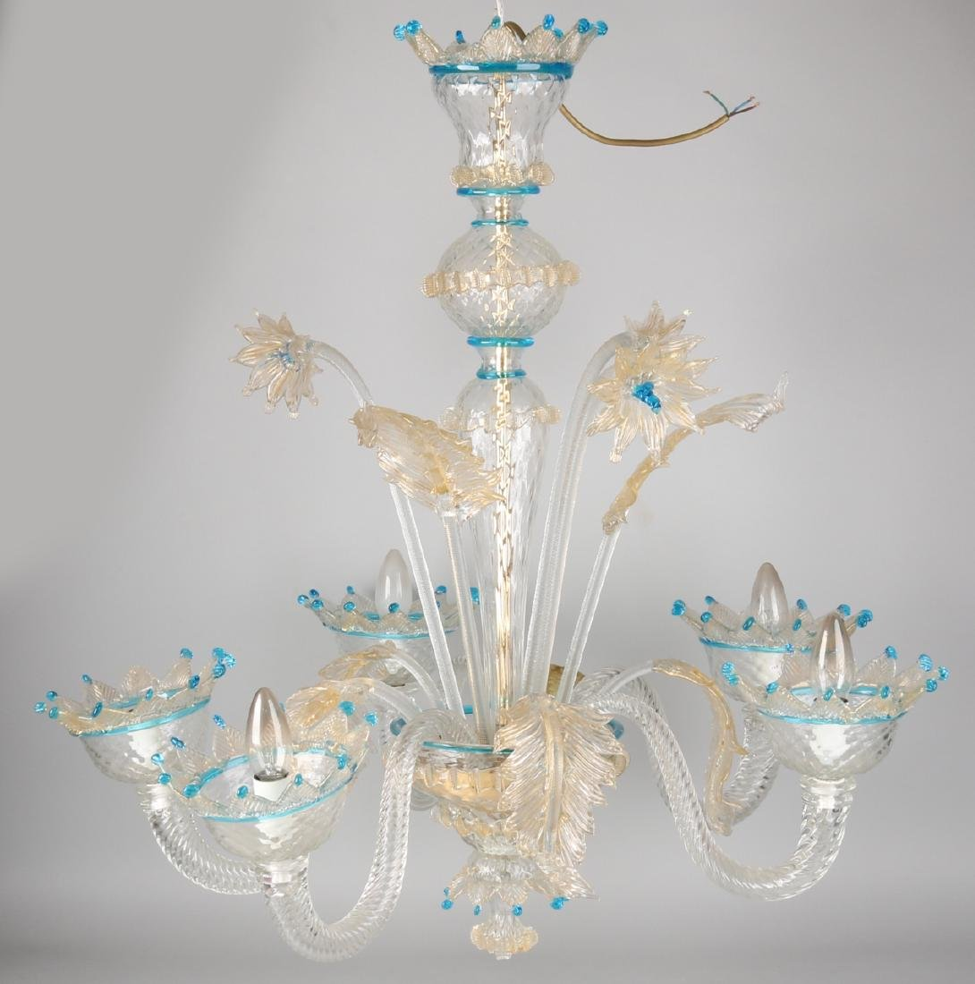 Very large Italian glass Murano chandelier. Small damages. Size: approximately 1