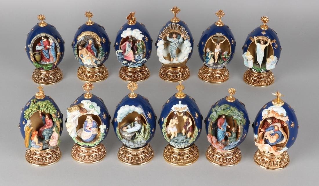 Twelve Faberge eggs with religious representation. House of Faberge numbered. Se