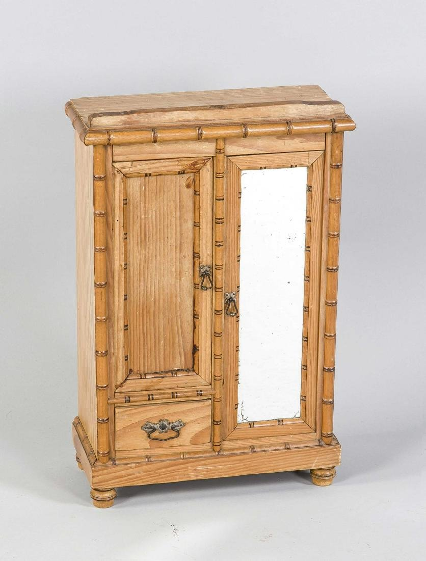 Antique toy miniature cabinet. Linen cabinet with drawer, mirror + shelves. Circ