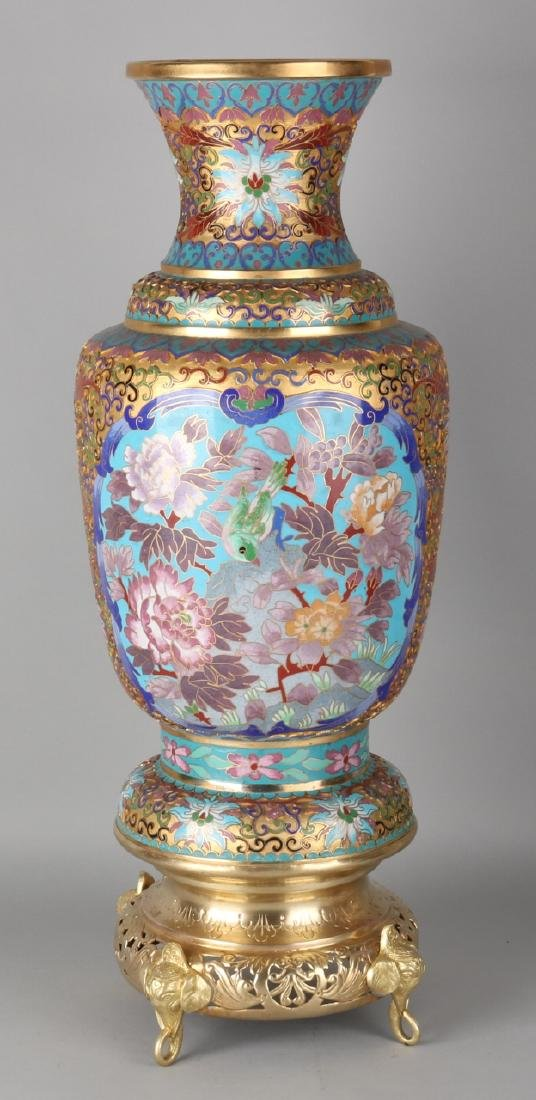 Large Japanese gilded brass cloisonne vase with floral enamel decor. 20th centur