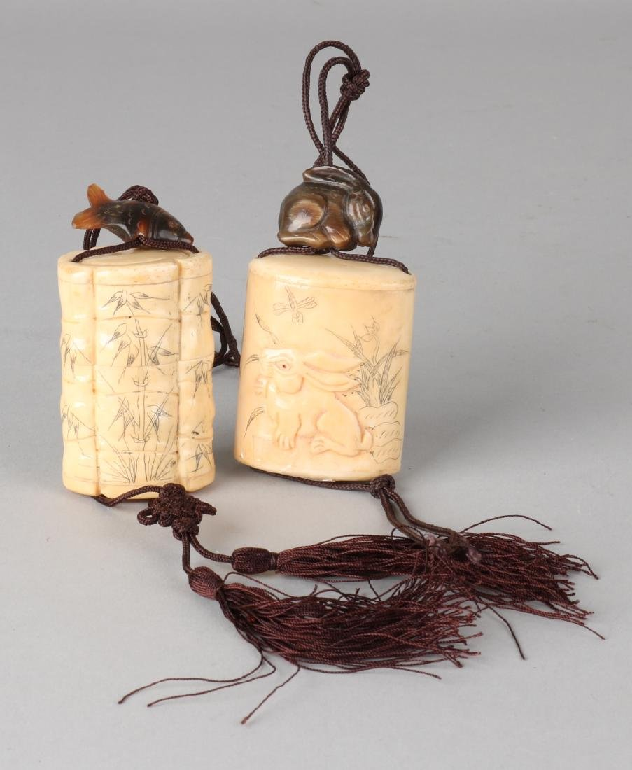Two Japanese legs inro's. 20th century. One with bamboo decor. One with hare and