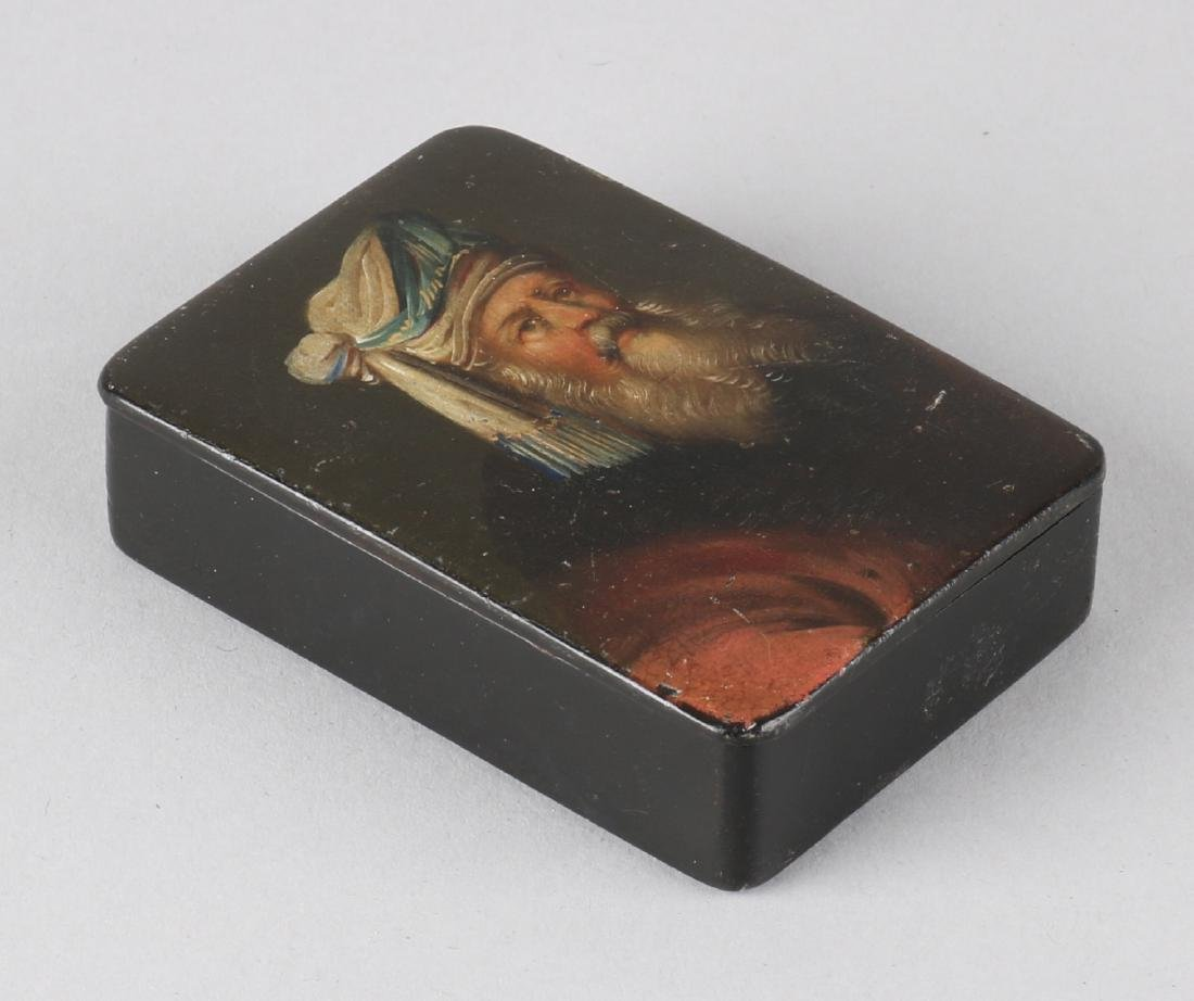 19th Century lacquerware box with hand-painted portrait of an old man with beard