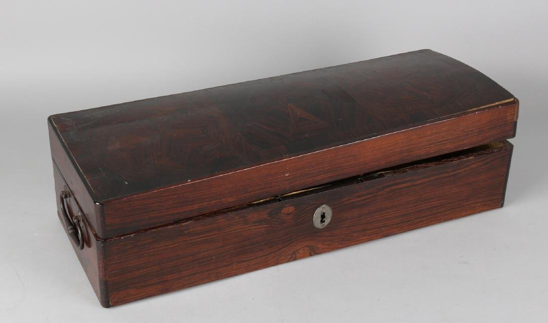 18th Century Dutch colonial rosewood glued wooden box in star form with handles