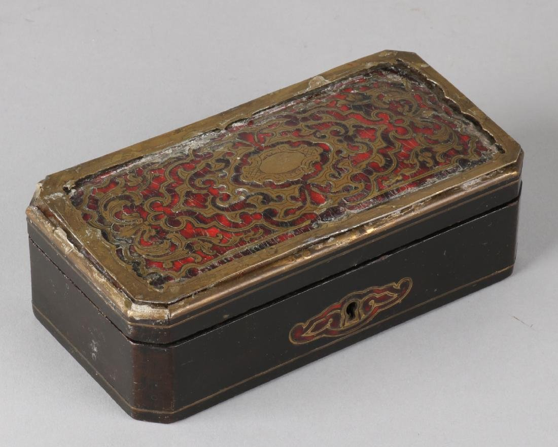 19th Century French boulle box with red turtle, brass rim edged and small corner