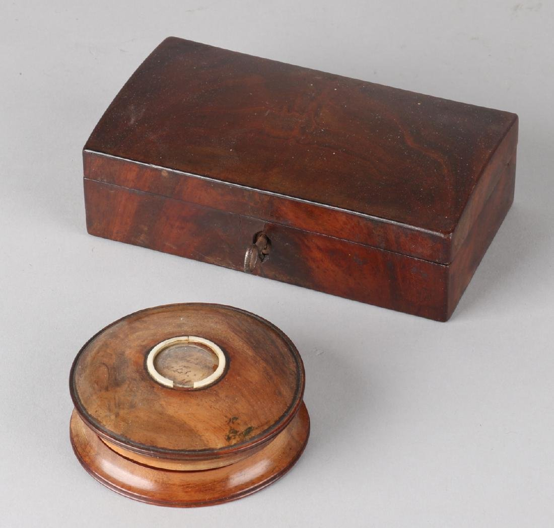 Two 19th century mahogany wooden box. One spoon box with lock and key. One souve