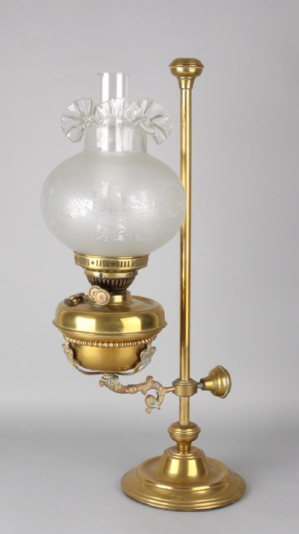 Beautiful antique brass, height adjustable kerosene lamp with machined glass bal