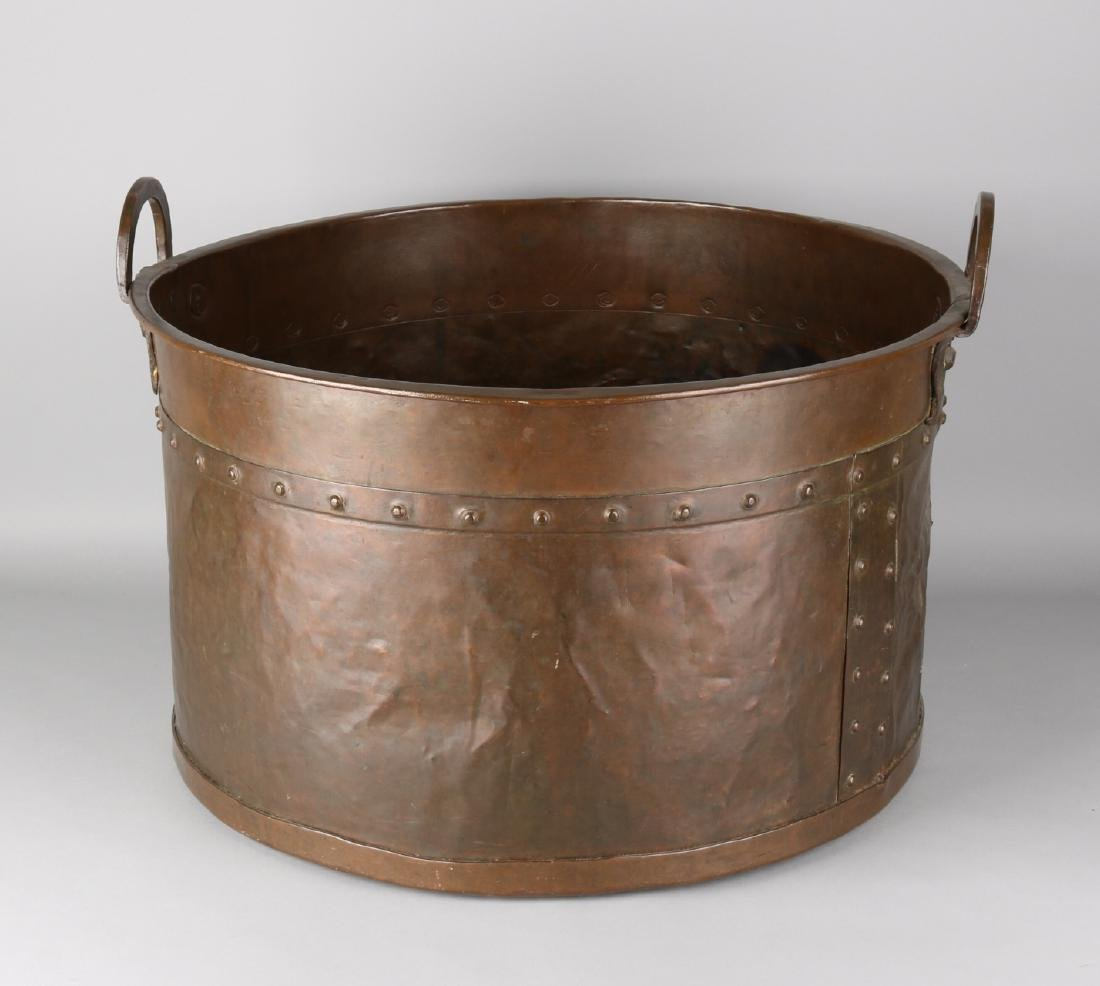 Large antique 18th - 19th century copper aker with handles with copper studs. Ol