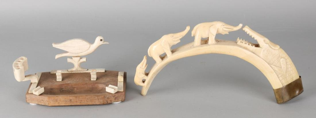 Two times old / antique ivory. Art Deco. Circa 1930. One desk set with bird and
