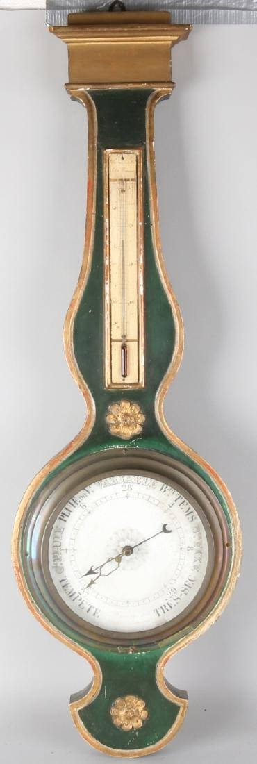 Early 19th century French barometer with original painting + gilding. Circa 1820