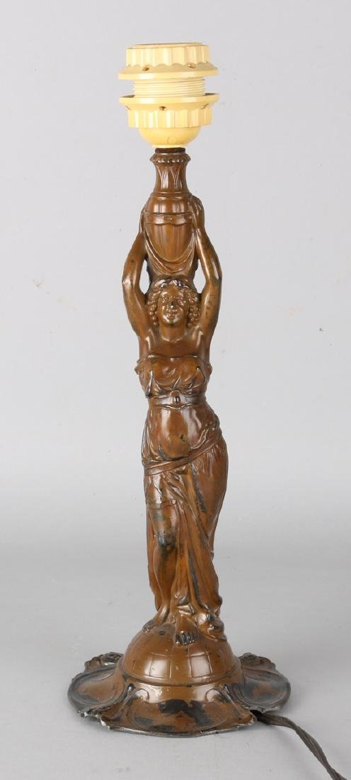 Antique composition metal lamp foot with Greek dancer. Circa 1900. Size: 38 cm.