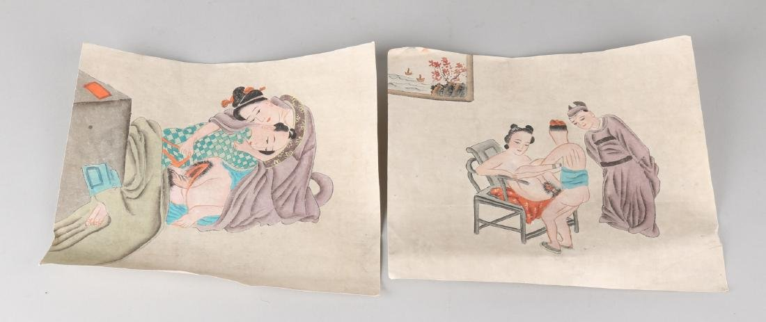 Two old Japanese erotic watercolors. 20th century. Watercolors on paper. Size: 2