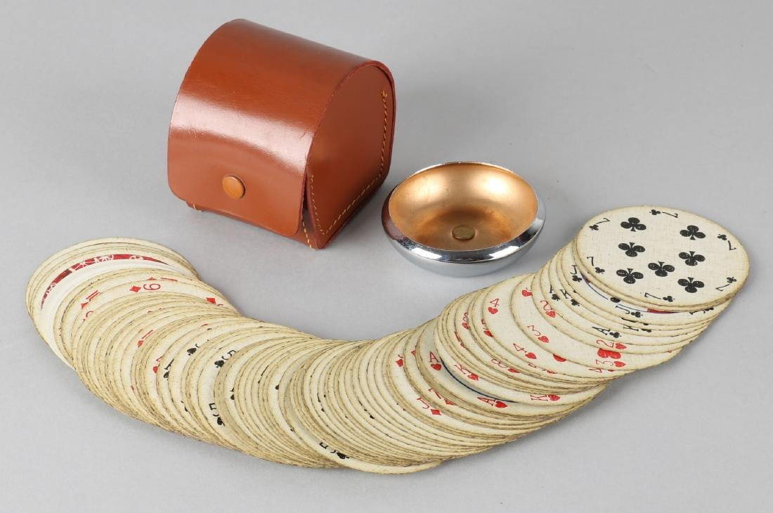 Separate English card game in leather holder with round cards and chrome mountab