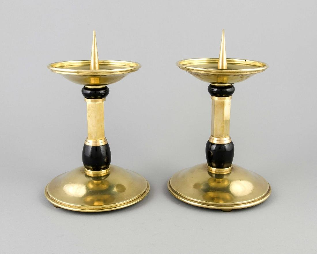 Two large brass church candle candlesticks. Circa 1930. Art Deco. Size: 32 x 19