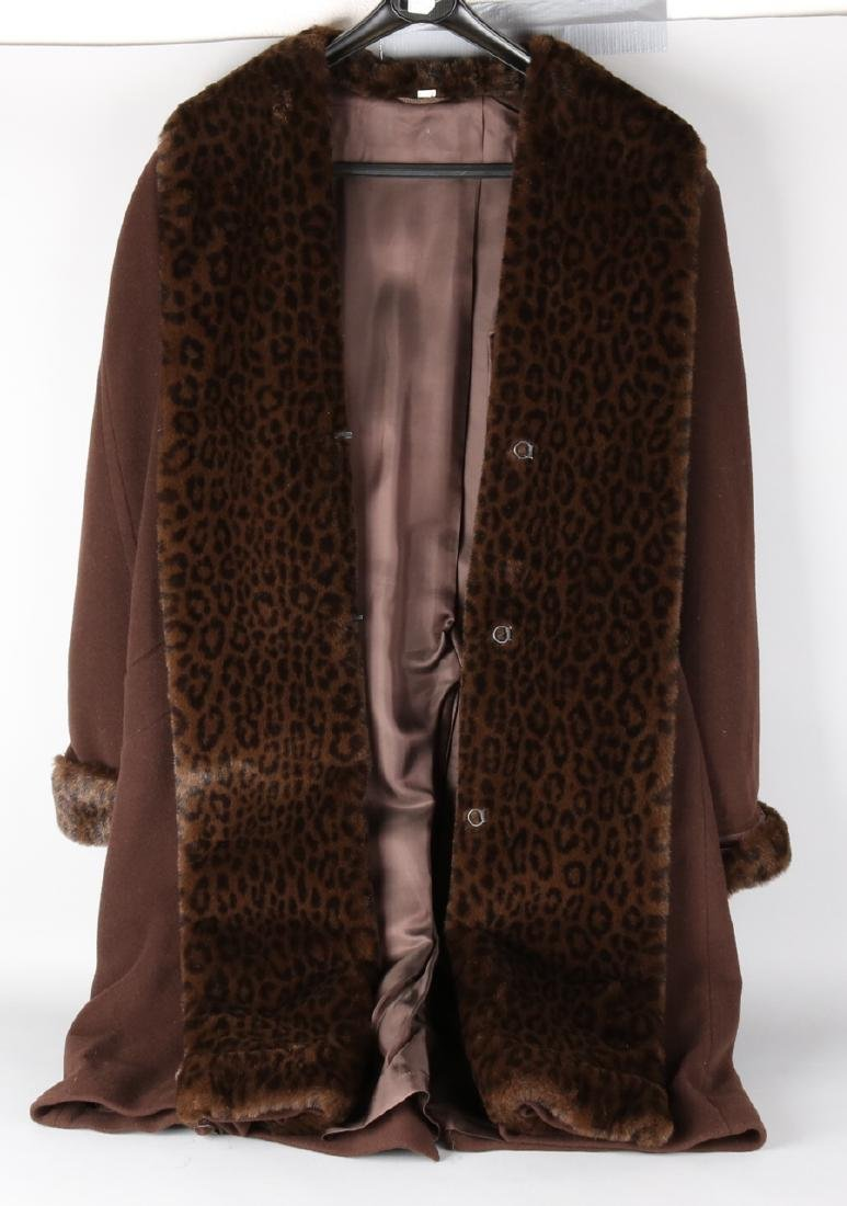 Three old long fur coats. 20th century. One wool with cashmere. One mink. A fox.