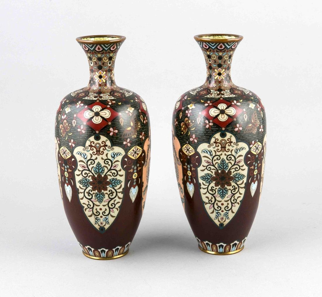 Two antique Japanese cloisonne vases with floral and birds of paradise + butterf