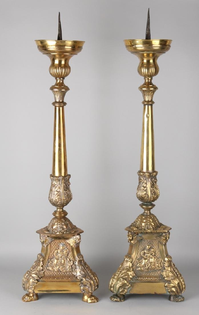 Two large antique gold-plated brass candle candlesticks. Church. Circa 1880. Siz