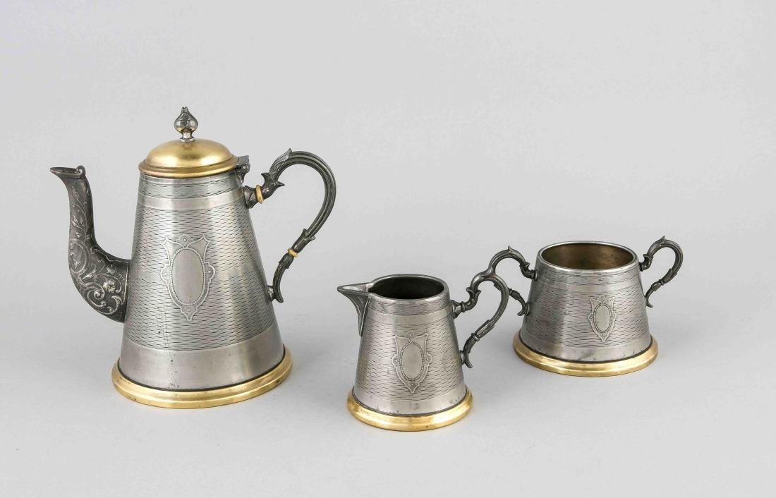 Three-piece antique German historicism WMF coffee service, plated with brass. Ci