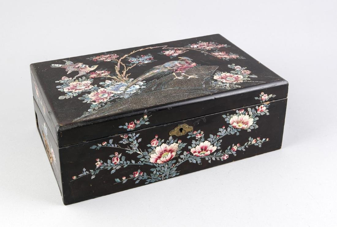 Antique Japanese lacquer writing case with mother-of-pearl inlay. Slight damage.