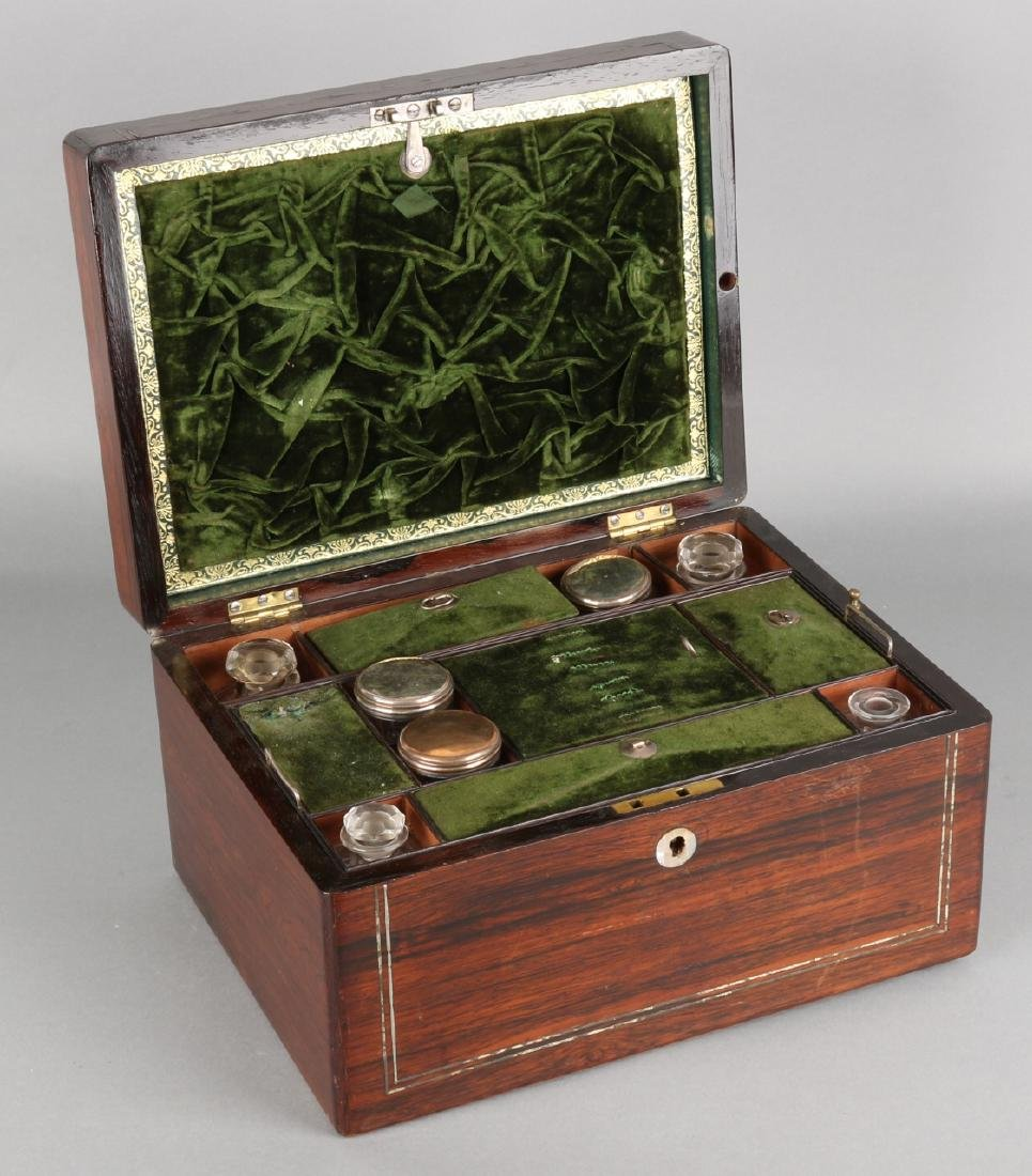 19th Century Rosewood wooden travel case with mother-of-pearl inlay and nescessa