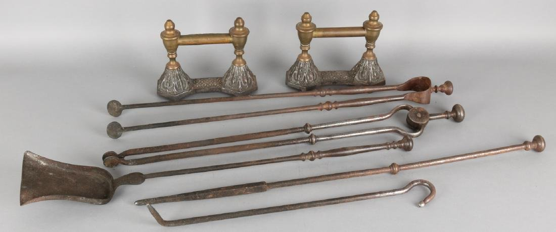 19th Century 7-piece fireplace set with fire dogs. Size: 20 - 71 cm. In reasonab
