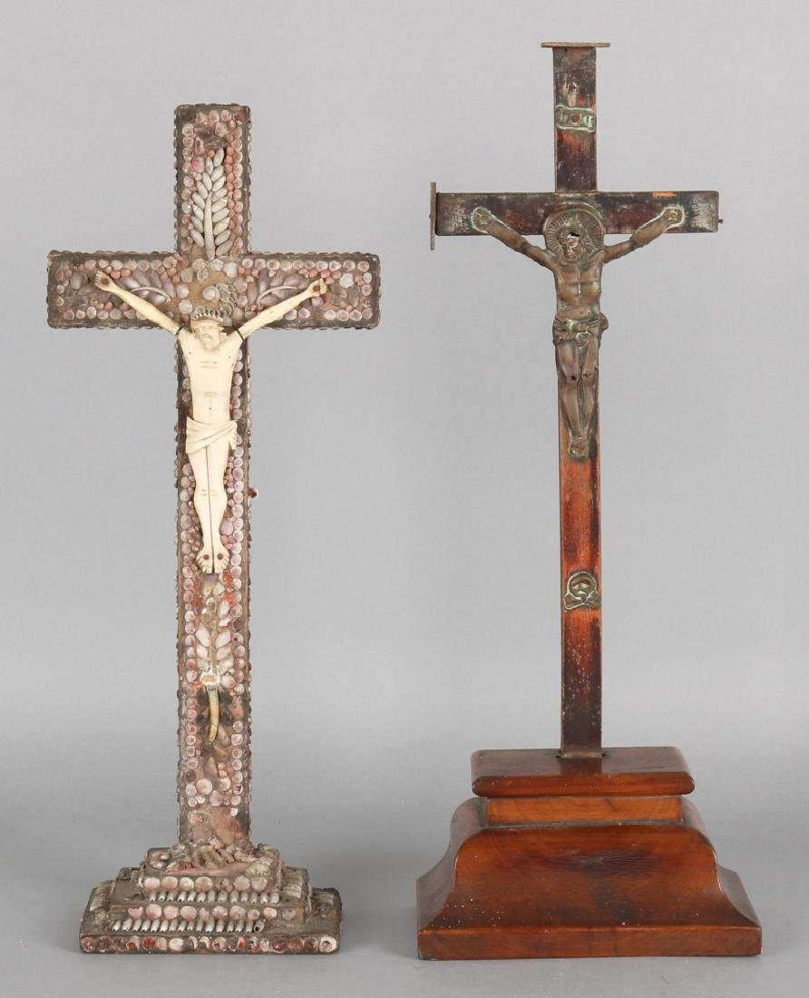 Two 19th century holy crosses. Single walnut with metal Corpus Christi. Once glu