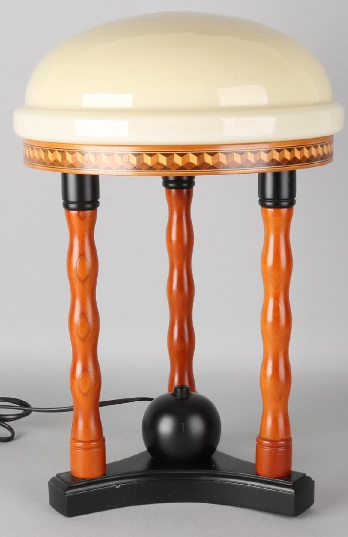 Art Deco-style wooden table lamp with marquetry intarsia and glass shade. 21st c