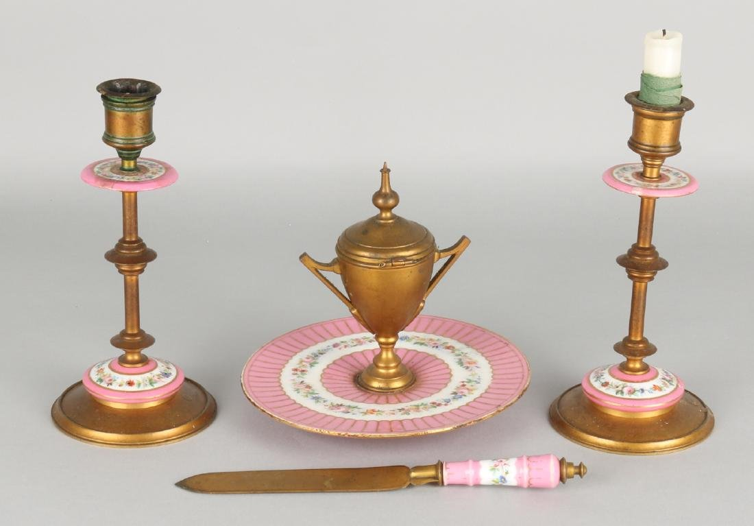 19th Century French brass with porcelain desk set. Consisting of two candlestick