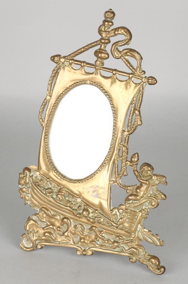 Antique Dutch brass desk-picture frame with ship. Circa 1900. Size: 25 x 16 x 1