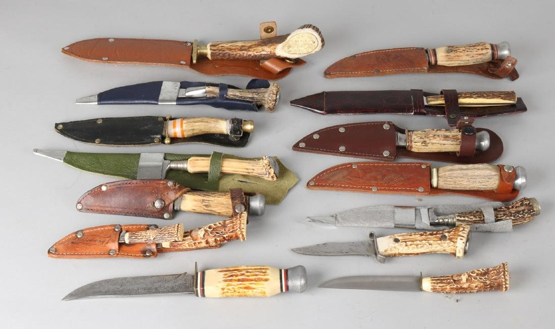 Lot of various hunting knives. 20th century. Size: 10 - 23 cm. In good condition