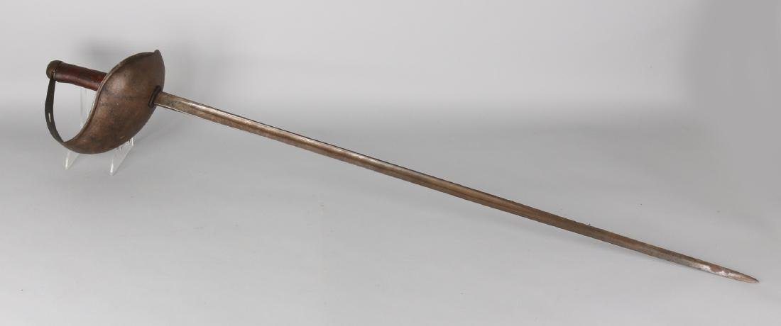 Large 19th century sword with wooden handle, Nr. 34. With original patina. Size: