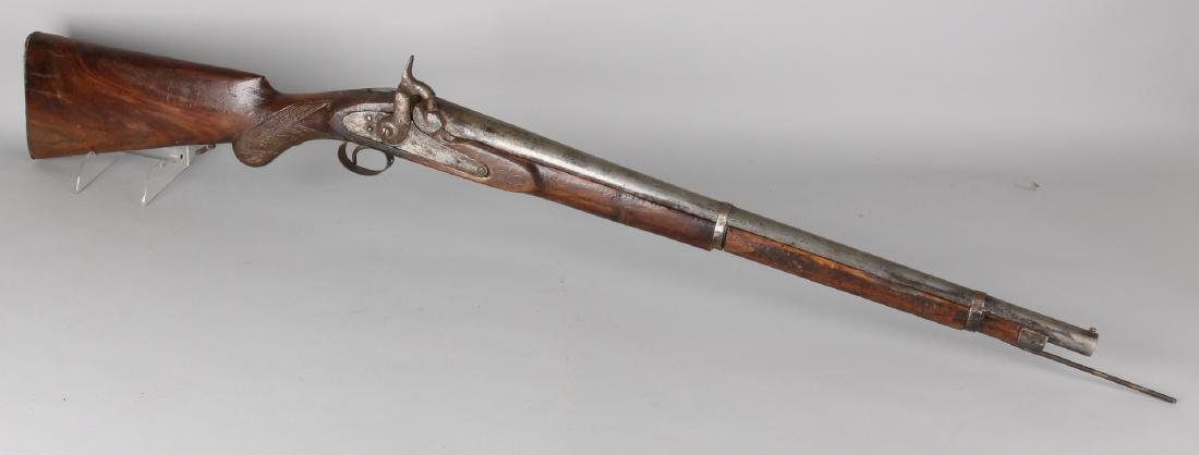 Early 19th century short single-handed percussion front loader gun. Beautiful pa
