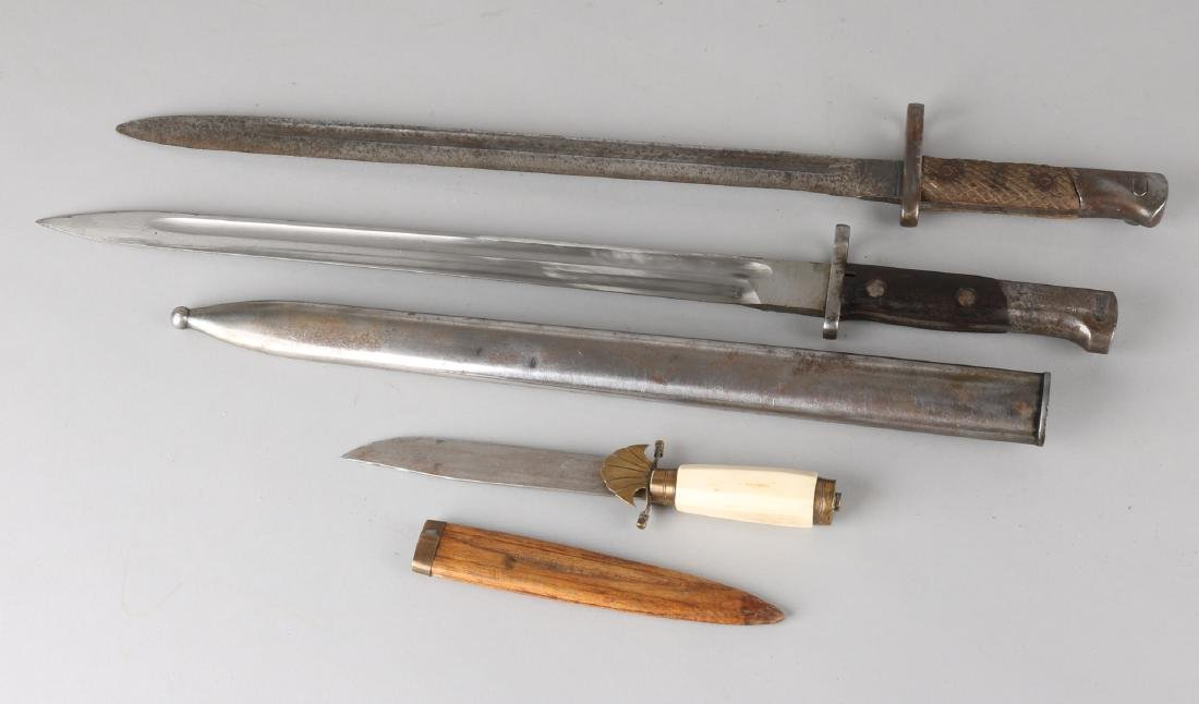 Two antique bayonets + knife with legs grip. Circa 1910. Once Toledo, without sh
