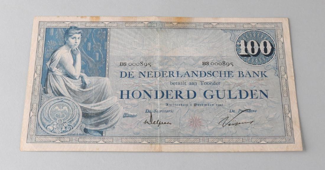 Banknote of 100 guilders 1928.