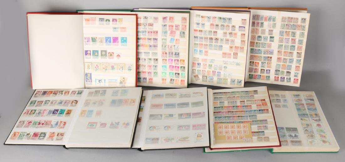 Eight stock books stamps with nice collections from among others; France, Spain,