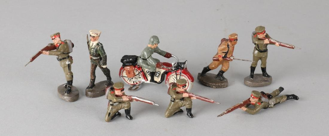 Lot of eight early German elastolin soldiers. One hairline arm. Circa 1915. Size