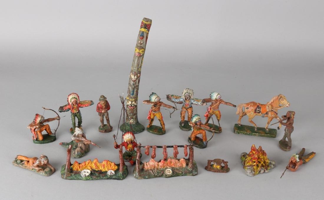 Lot of eighteen German elastolin Indians figures. Circa 1930 - 1940. Couple of h