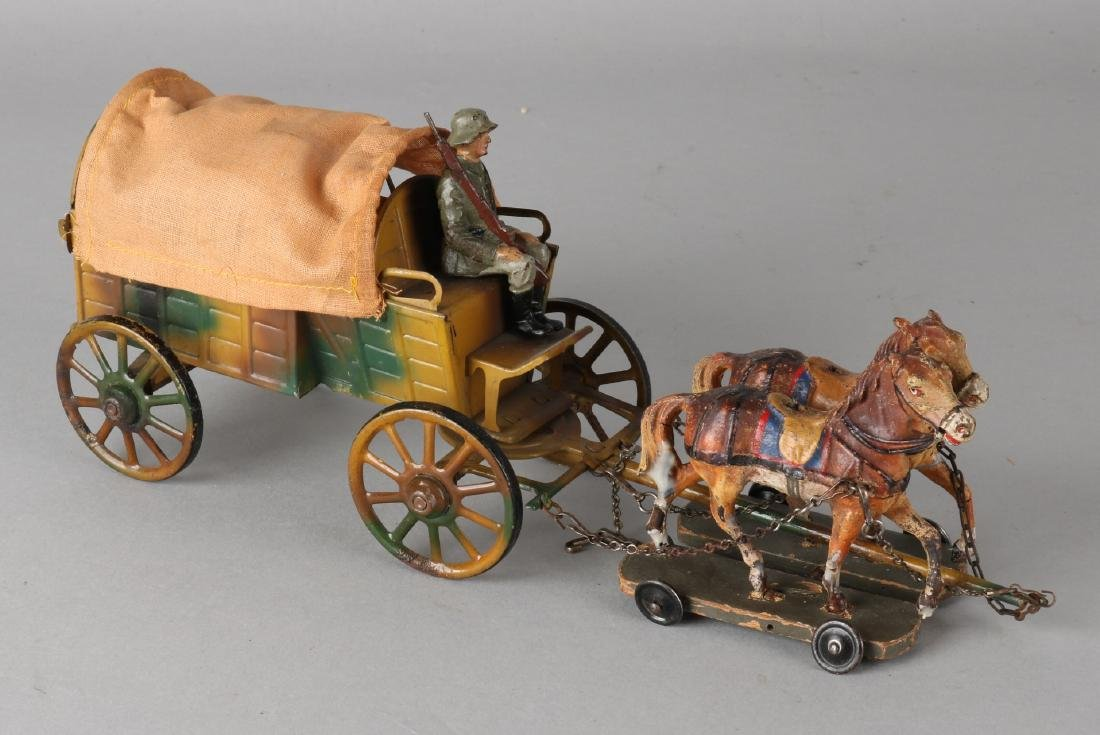 German tin lineol military carriage. Circa 1930 - 1940. Played lightly. Size: 29