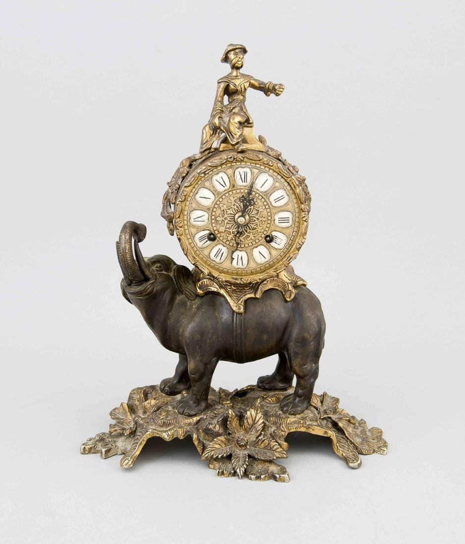 Italian bronze elephant pendulum. With Indian elephant. Second half of the 20th